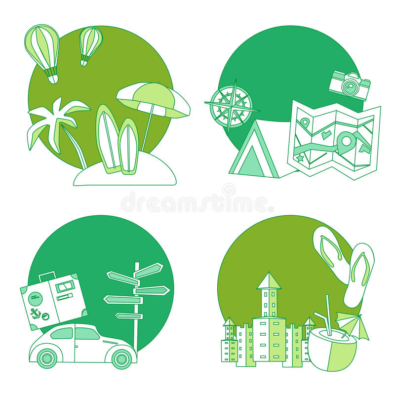 Set of summer flat icon royalty free stock images