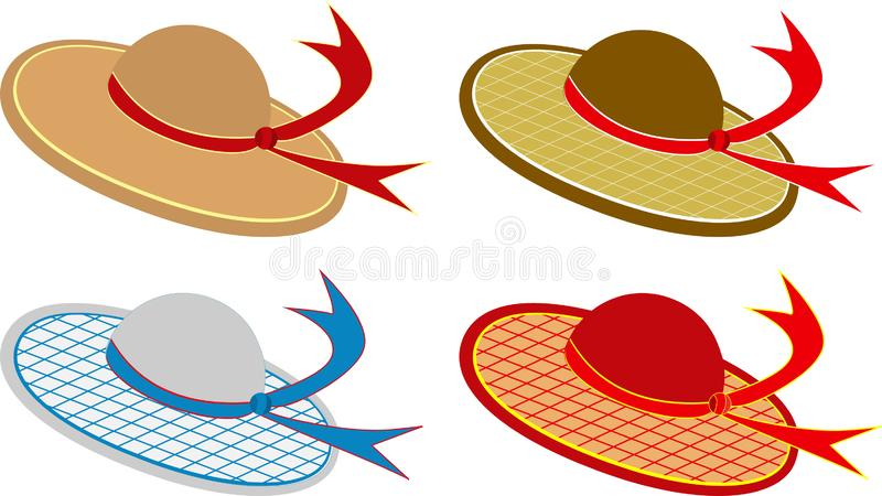 Set of summer hats on a white vector illustration