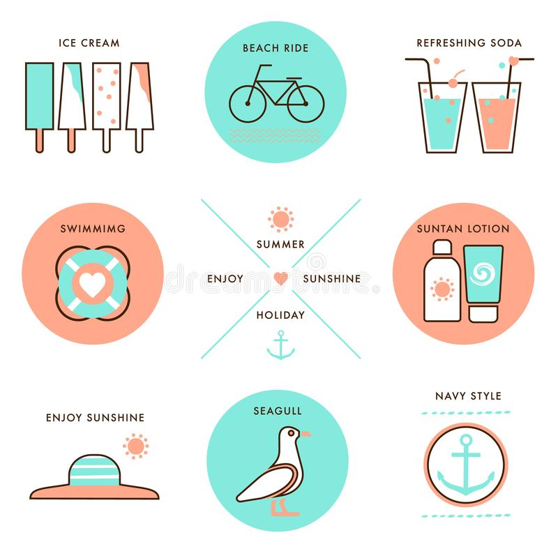Set of Summer Holiday element vector Labels badge design icon royalty free stock photos