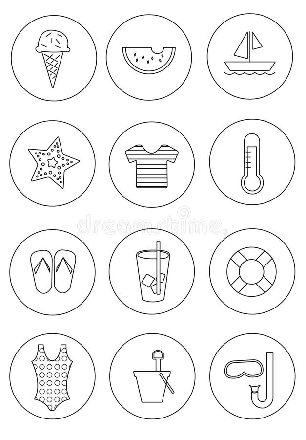 Set of Summer Icons with Circle Background stock photography