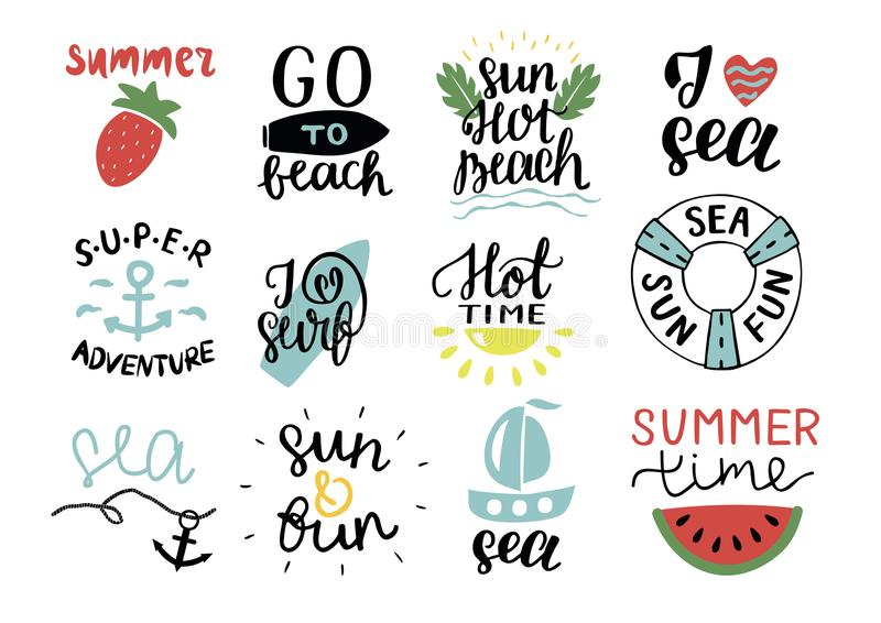 Set of 12 summer logo with hand lettering Hot time, I love surf, Sea, Go to beach, Super adventure, Sun. vector illustration