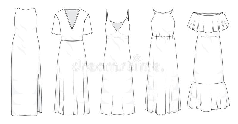 Set of summer long maxi dresses  royalty free illustration