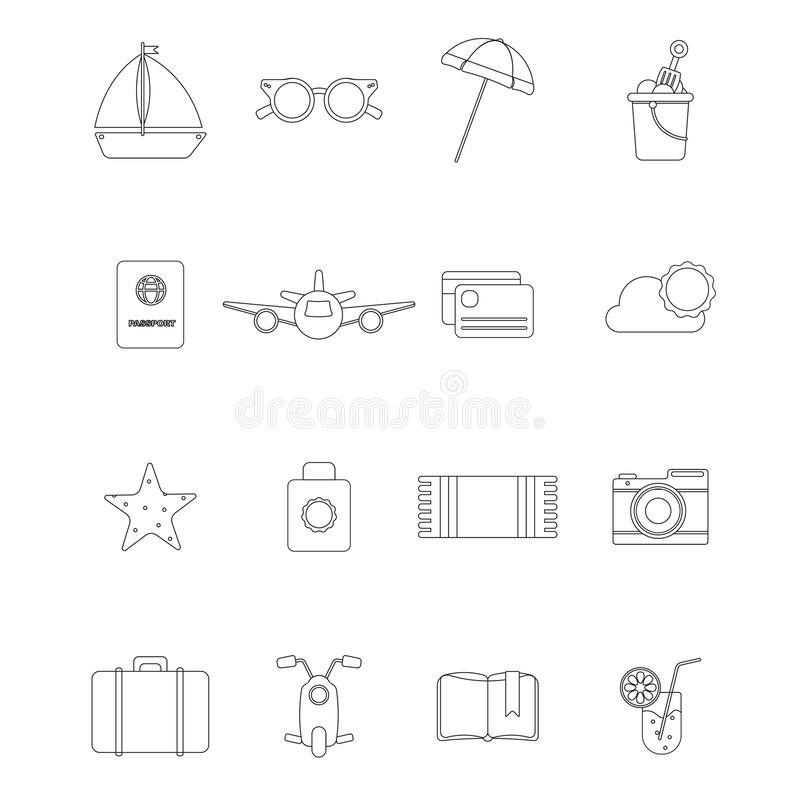 Set with summer objects for design vector illustration
