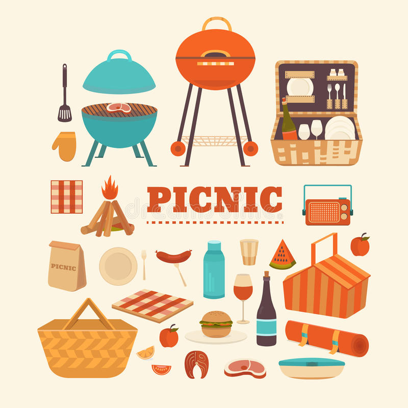 Set of summer picnic royalty free stock photography