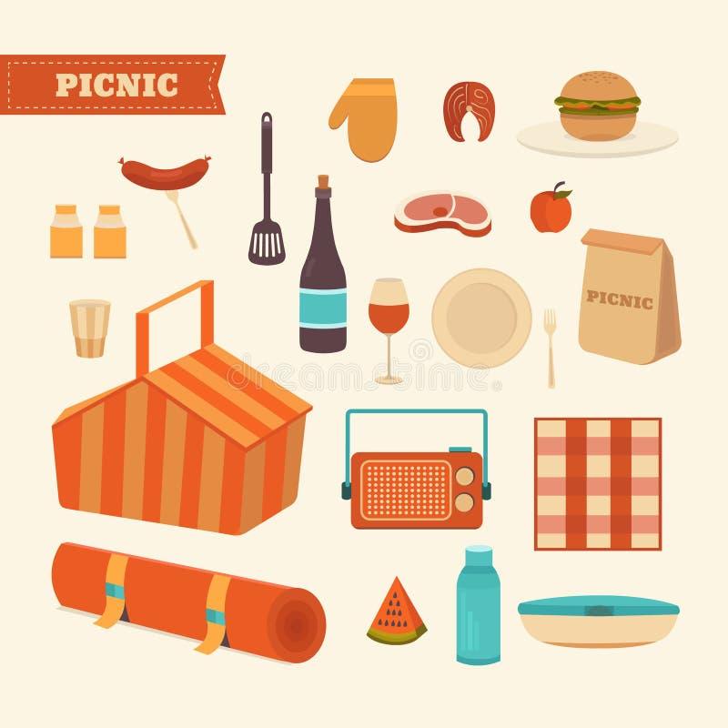 Set of summer picnic vector illustration