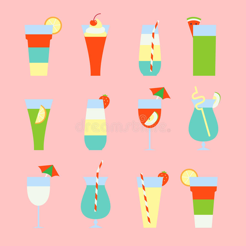 Set of summer refreshing drinks and cocktails. Vector illustration royalty free illustration