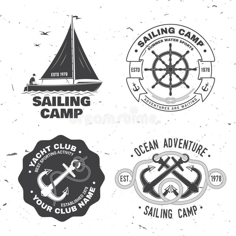Set of summer sailing camp badge. Vector. Concept for shirt, print, stamp or tee. Vintage typography design with black. Set of summer sailing camp badge. Vector royalty free illustration