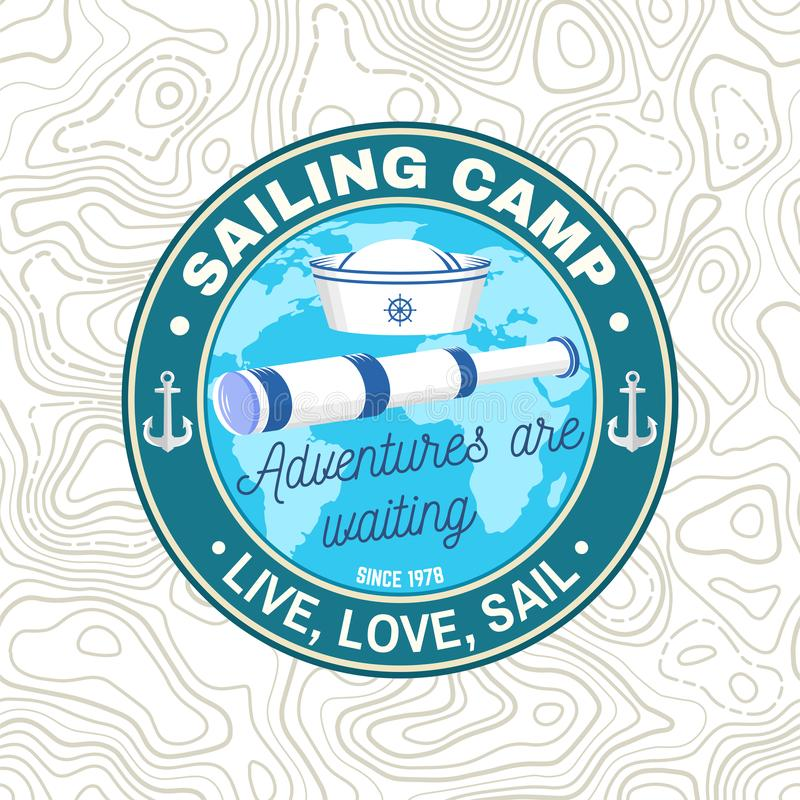 Set of summer sailing camp badge. Vector. Concept for shirt, print or tee. Vintage typography design with black sea. Summer sailing camp patch. Vector. Concept royalty free illustration