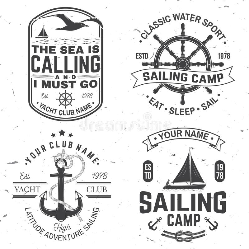 Set of summer sailing camp badge. Vector. Concept for shirt, print or tee. Vintage typography design with black sea. Set of summer sailing camp badge. Vector royalty free illustration
