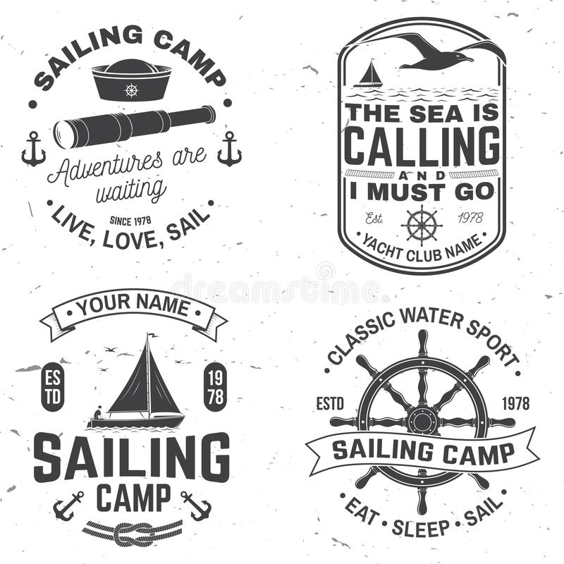 Set of summer sailing camp badge. Vector. Concept for shirt, print or tee. Vintage typography design with black sea. Set of summer sailing camp badge. Vector vector illustration