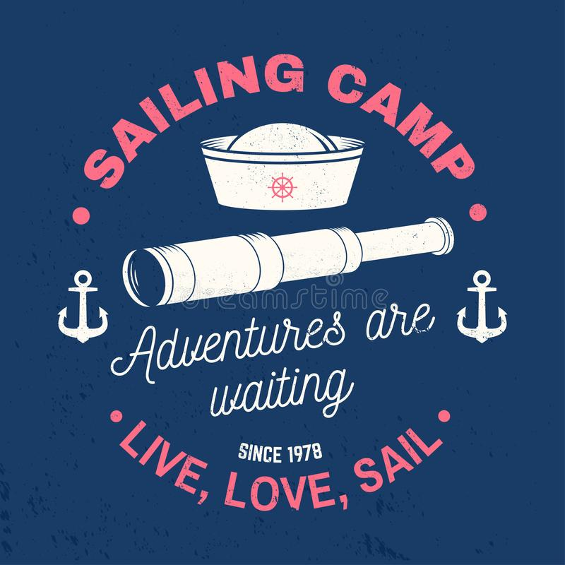 Set of summer sailing camp badge. Vector. Concept for shirt, print or tee. Vintage typography design with black sea. Summer sailing camp badge. Vector. Concept vector illustration