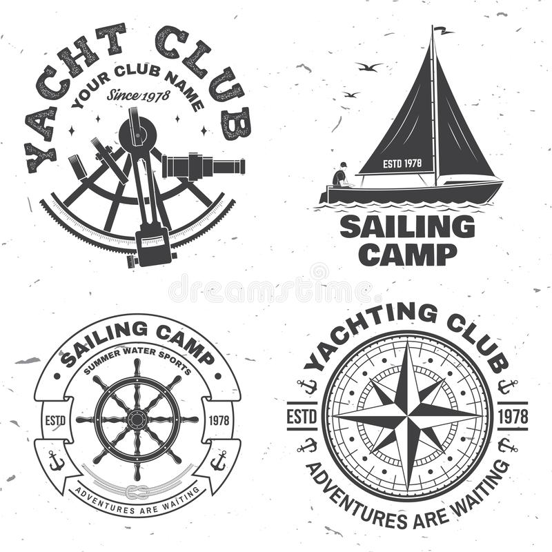 Set of summer sailing camp badge. Vector. Concept for shirt, stamp or tee. Vintage typography design with black sea. Set of summer sailing camp badge. Vector vector illustration