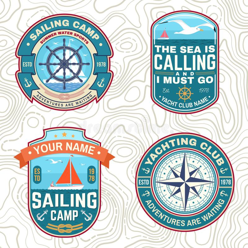 Set of summer sailing camp patches. Vector. Concept for shirt, stamp or tee. Vintage typography design with sea anchors. Set of summer sailing camp patches stock illustration