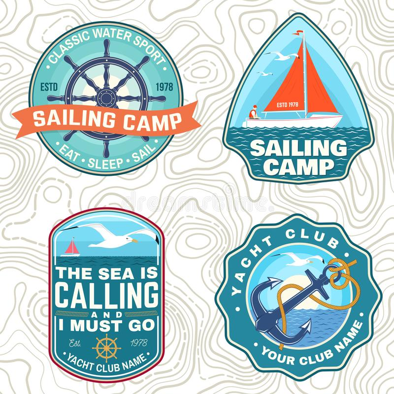 Set of summer sailing camp patches. Vector. Concept for shirt, stamp or tee. Vintage typography design with sea anchors. Set of summer sailing camp patches vector illustration