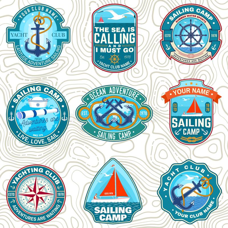 Set of summer sailing camp patches. Vector. Concept for shirt, stamp or tee. Vintage typography design with sea anchors. Set of summer sailing camp patches royalty free illustration