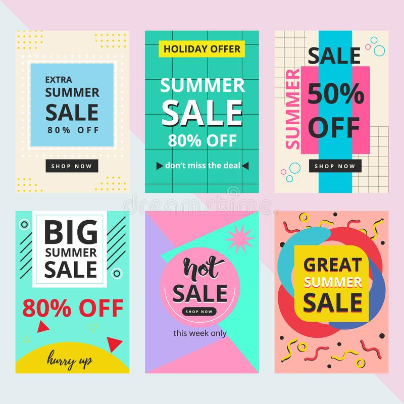 Set of summer sale banner with Memphis style vector illustration