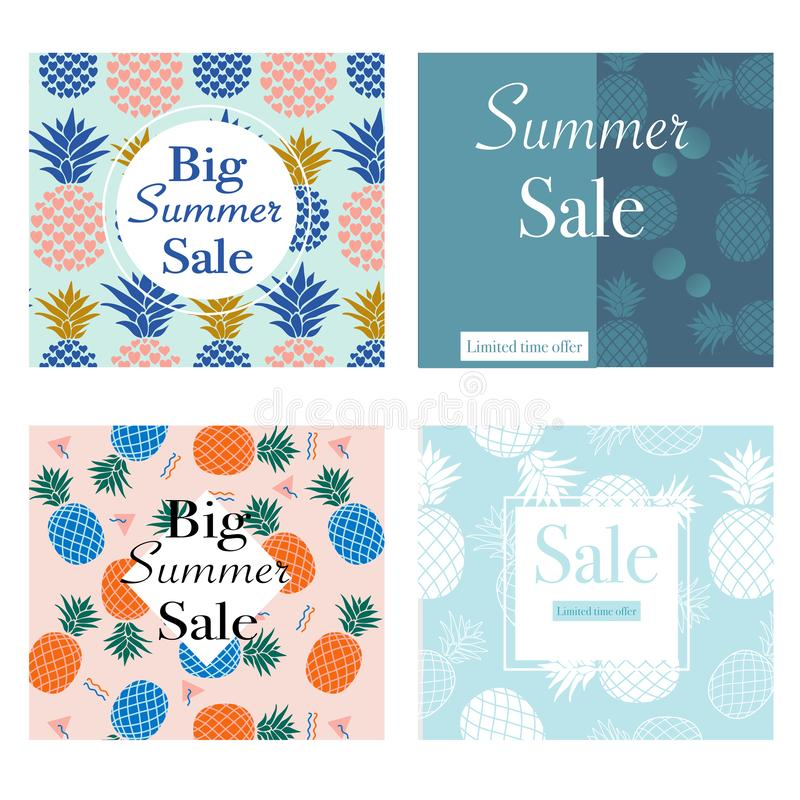 Set of 4 summer sale banners with colorful summer pineapples.Vector elements. Creative template. Perfect for your summer sale promotions vector illustration
