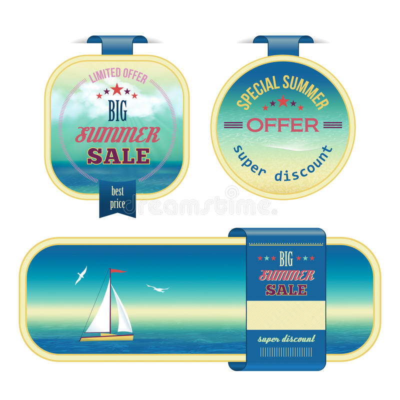 Set of summer sale labels, tags, stickers, banners vector illustration