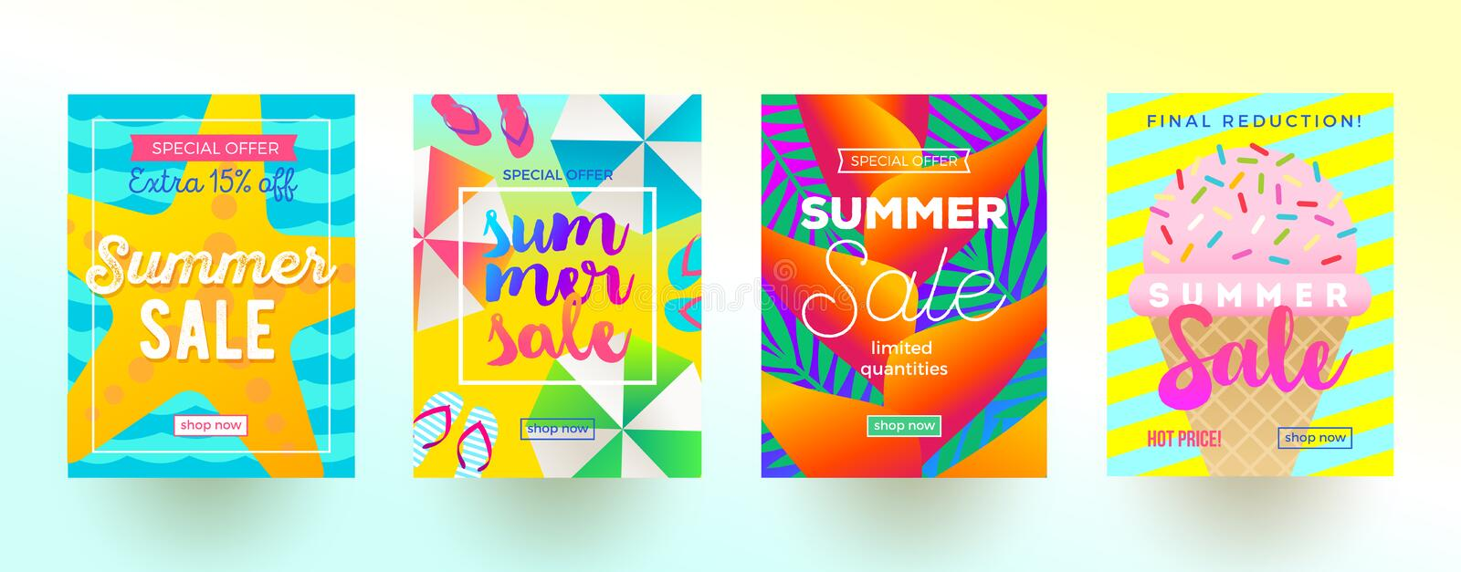 Set of summer sale promotion banners. Vacation, holidays and travel colorful bright background. Poster or newsletter design. Vector illustration vector illustration
