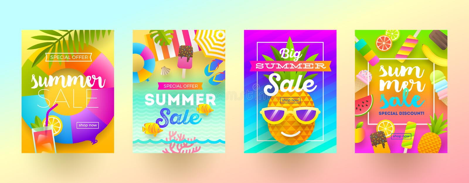 Set of summer sale promotion banners. Vacation, holidays and travel colorful bright background. Poster or newsletter design. Vector illustration royalty free illustration