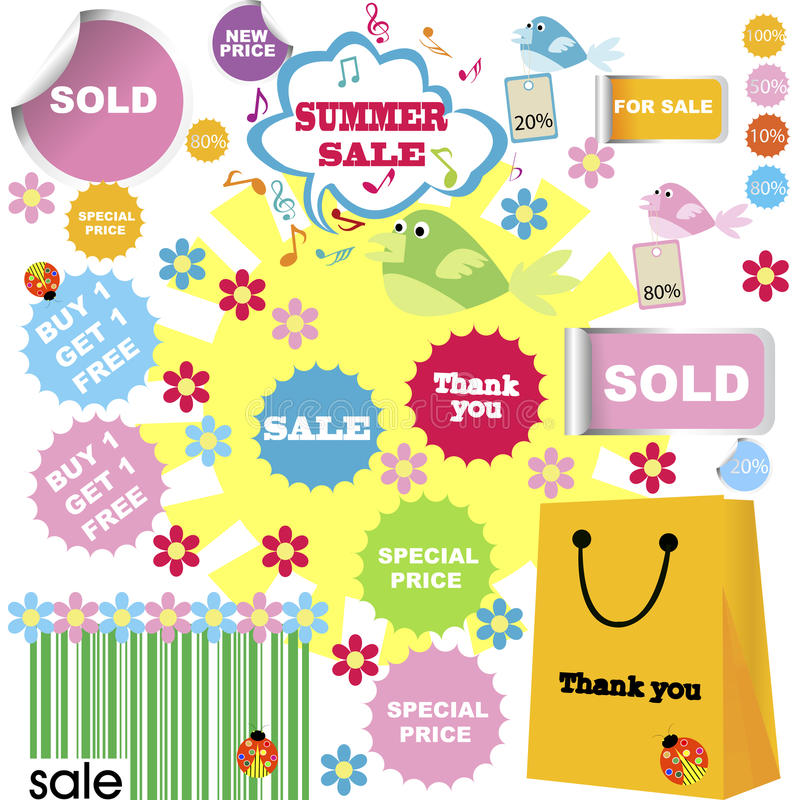 Download Set Of Summer Sale, Shopping Stickers Stock Illustration - Image: 15545219