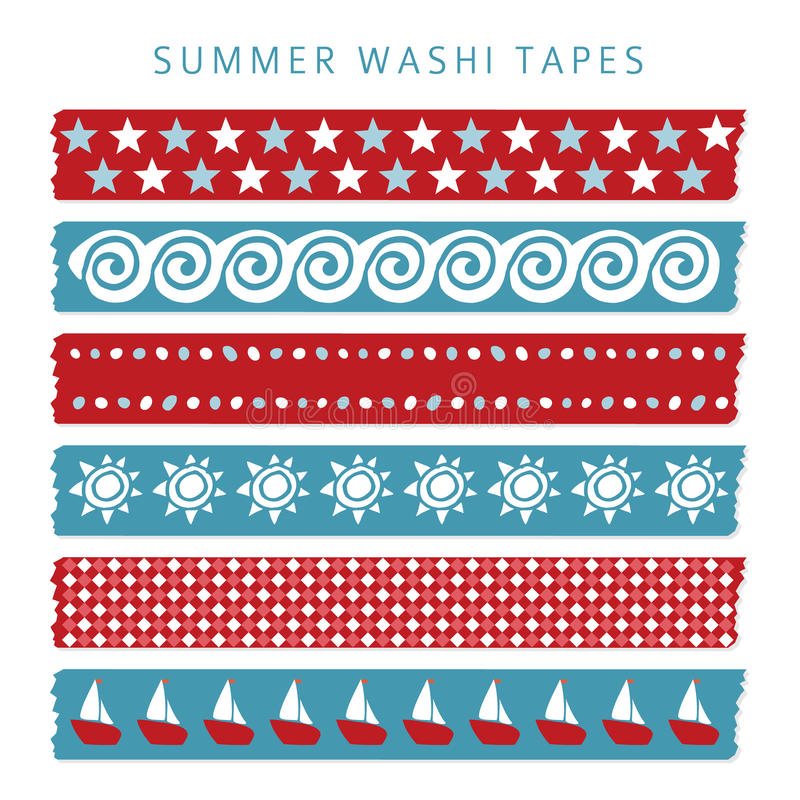 Set of summer sea washi tapes, ribbons, elements, patterns stock illustration