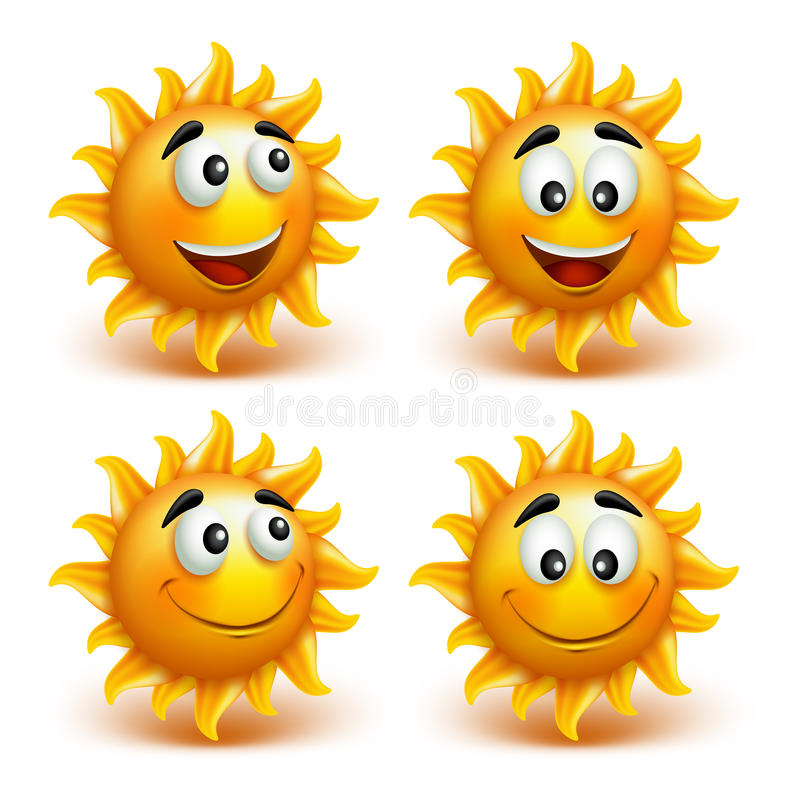 Set of Summer Sun Face with Happy Smile stock illustration