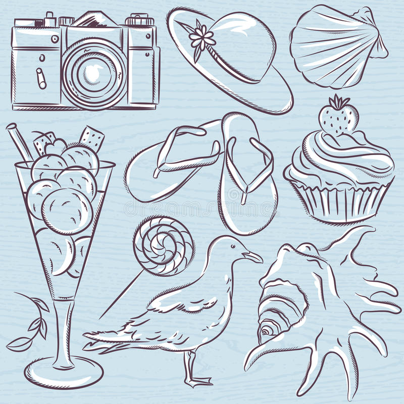 Set of summer symbols, seashell, seagull, camera, muffin, hat, royalty free illustration