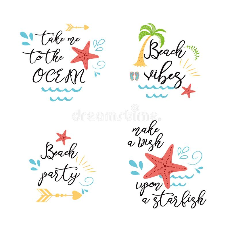 Set of summer vacation sea posters prints banners cards with inspirational quotes in vector Sea star ocean palm. Set of summer vacation sea posters prints royalty free illustration