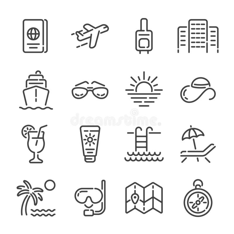 Set of summer vacation or travel outline icons. Vector illustration. vector illustration
