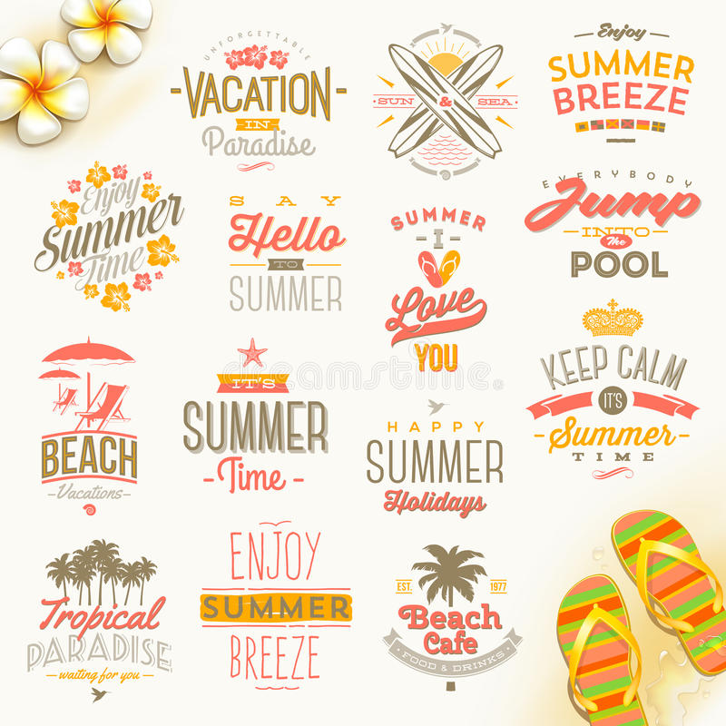 Set of summer vacation and travel type design. Set of summer holidays, vacation and travel type design vector illustration