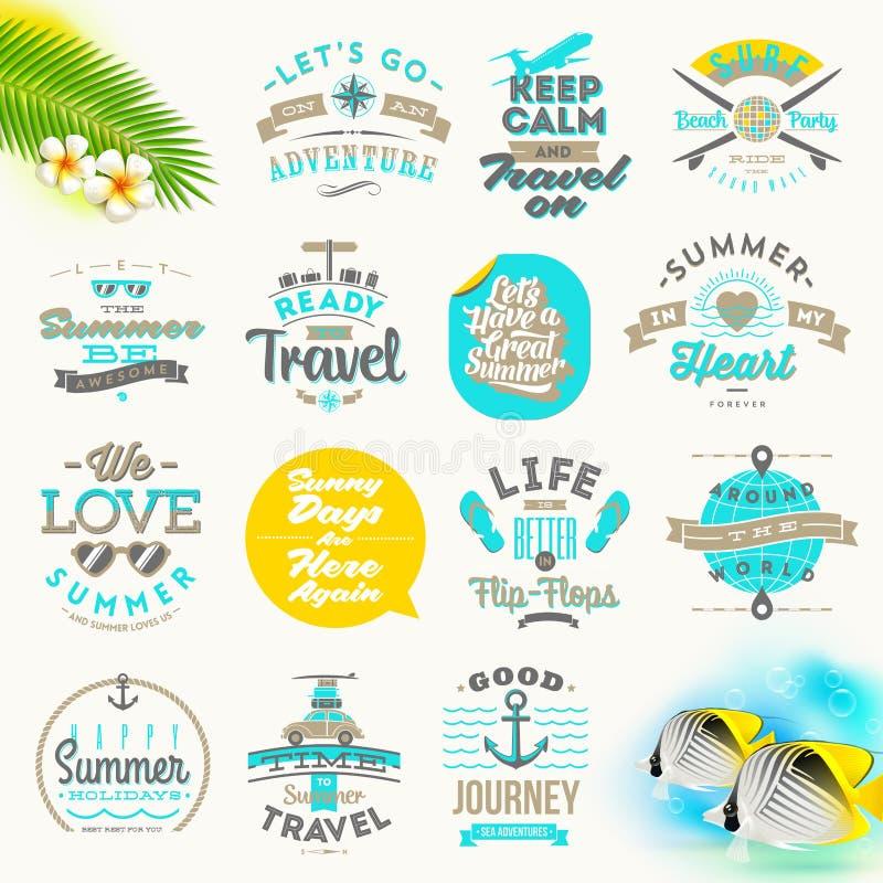 Set of summer vacation type design. Set of summer vacation and travel type design vector illustration
