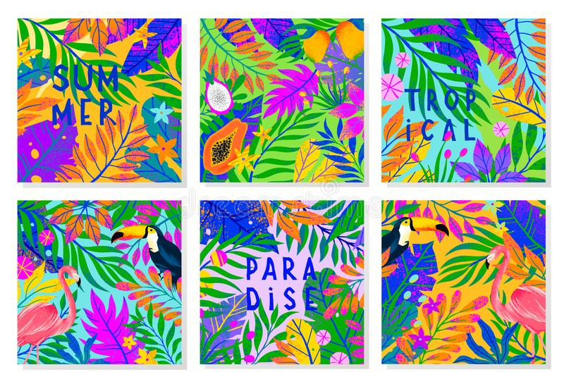 Set of summer vector illustration with bright tropical leaves,flamingo,toucan and exotic fruits royalty free illustration