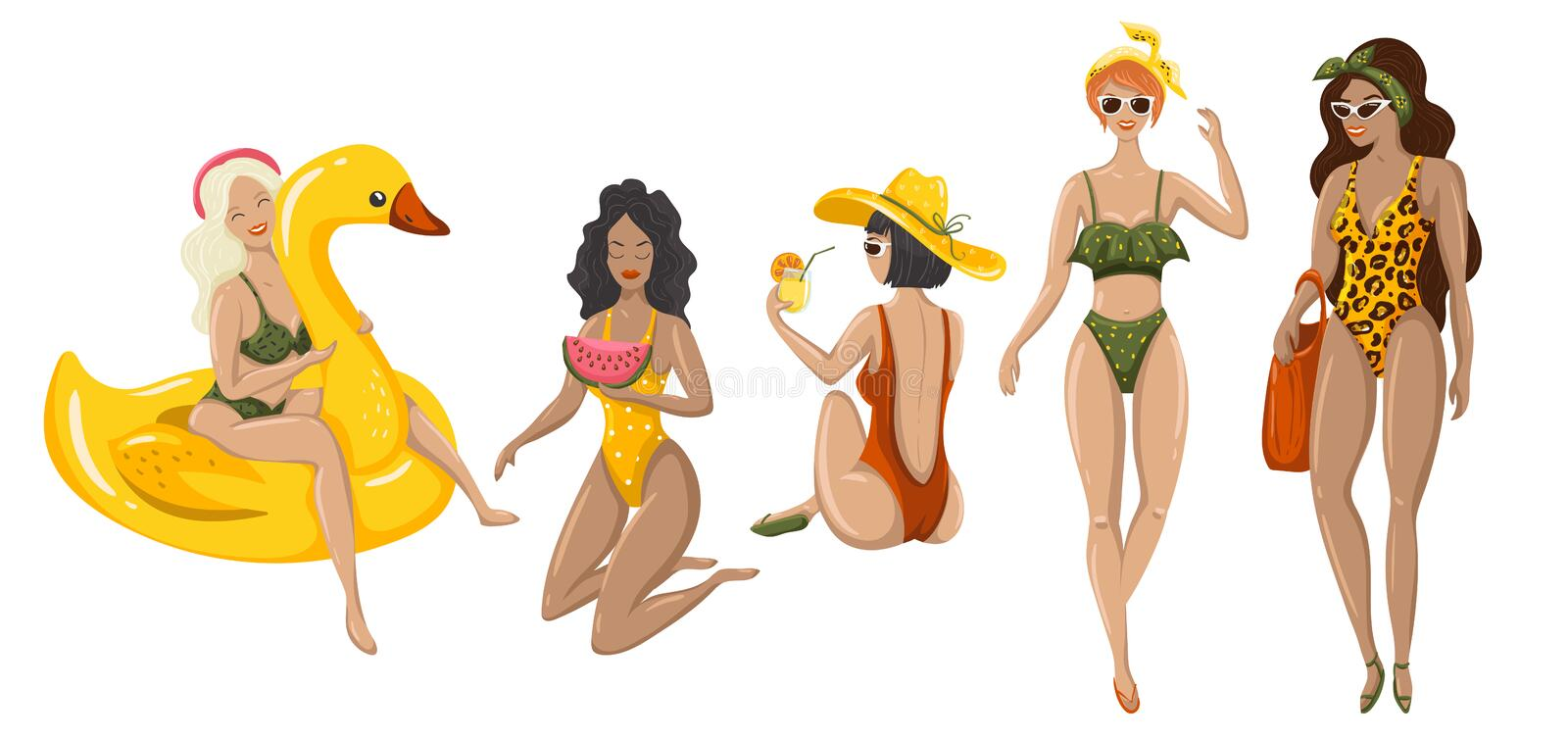 Set of summer womans. Summer time. Flat illustrations with relaxing girls on white background. Vector illustration EPS10 stock illustration