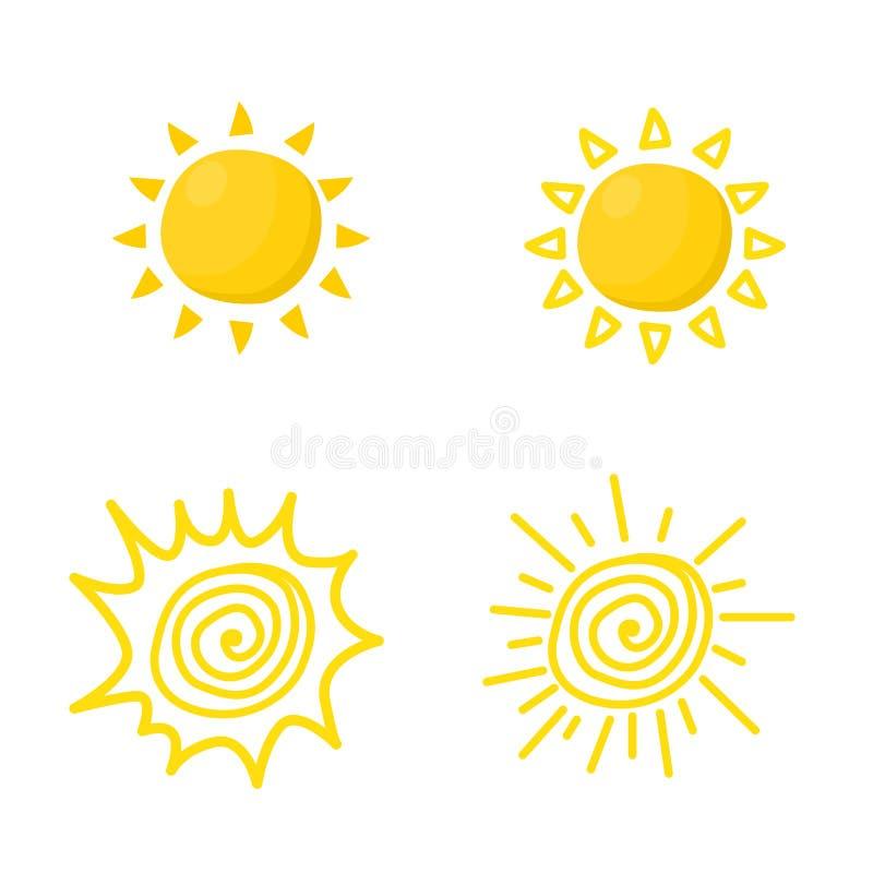 Set of sun icon vector. In cartoon illustration flat design vector illustration