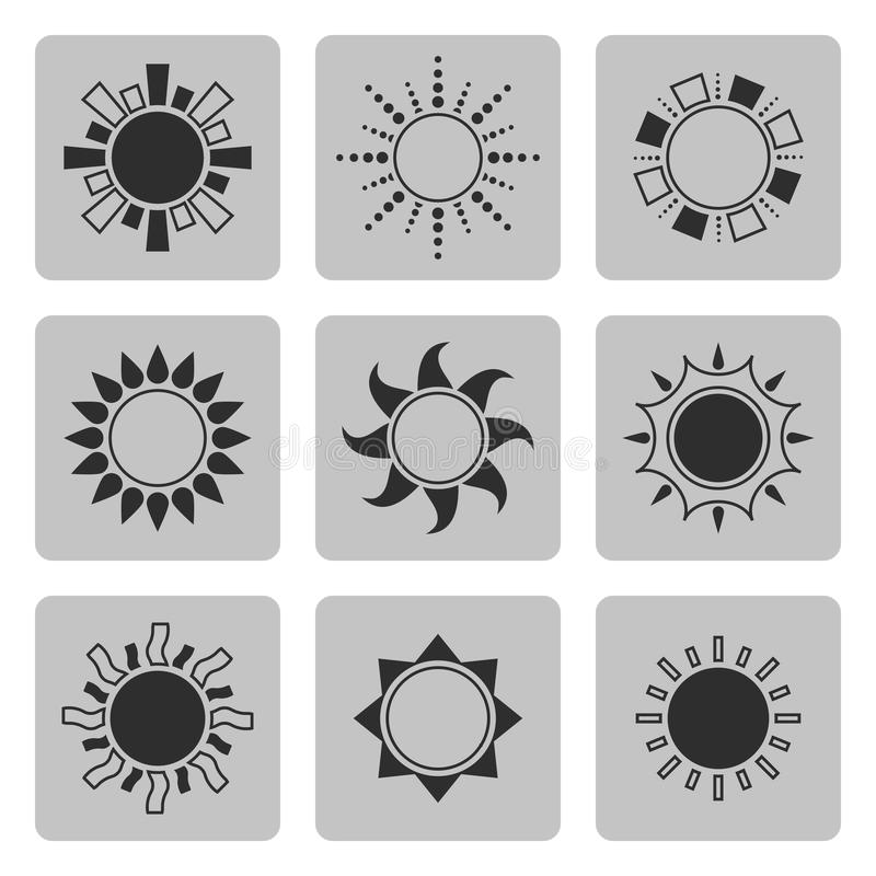 Set of sun icons. Sun icon set on a gray square and black color.Part III vector illustration
