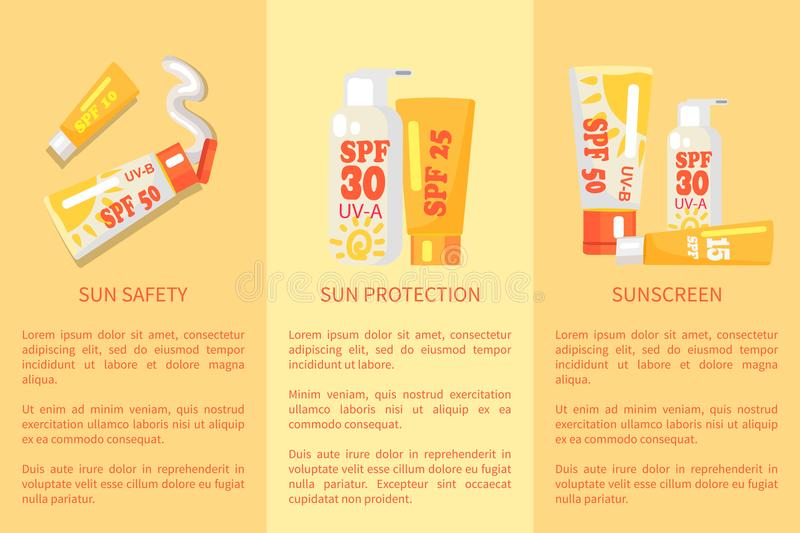 Set of Sun Safety, Protection, Sunscreen Posters stock illustration