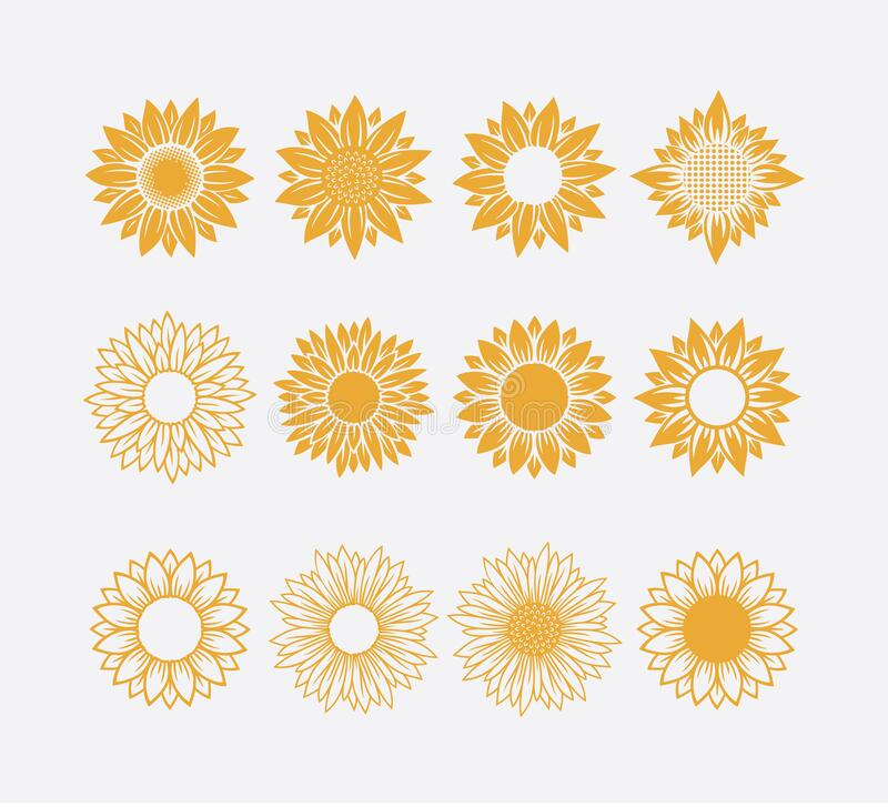 Set of sun symbol or sunflower vector logo design concept isolated on white background. Set of sun symbol or sunflower vector logo design template concept stock photo