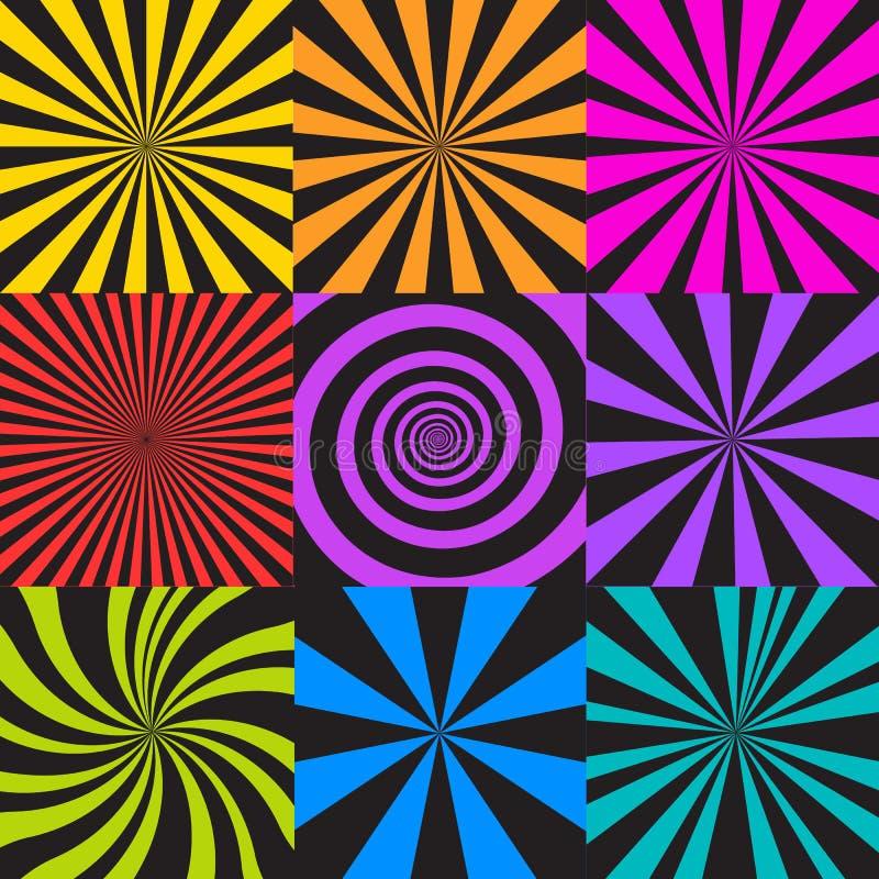 Set sunburst i spirali tła ilustracji