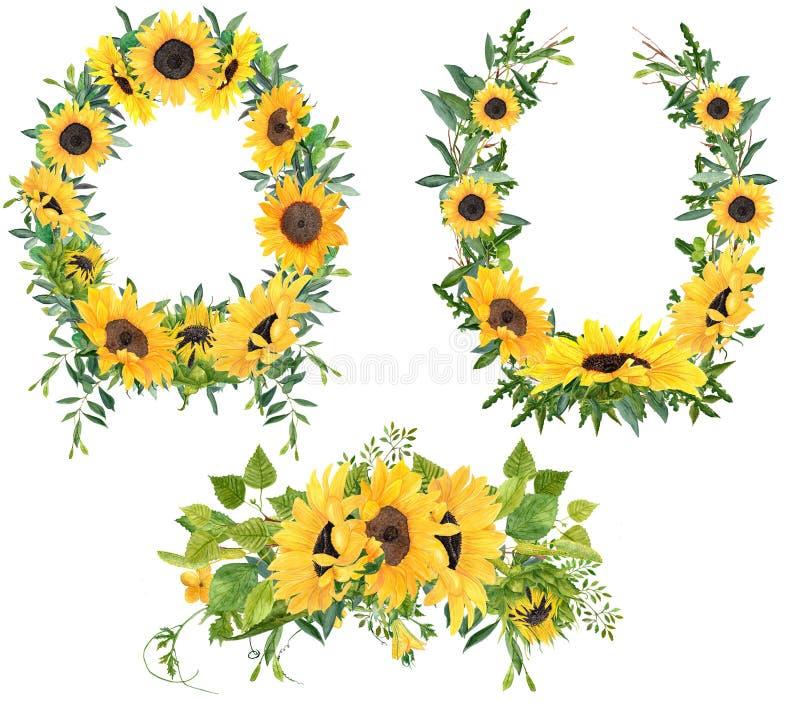 Set of 3 sunflower arrangements,wreaths and bouquet stock image