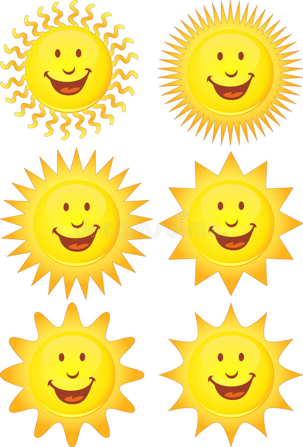 set suns 3d royaltyfri illustrationer
