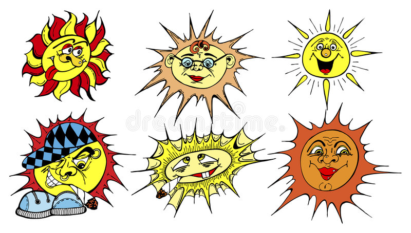 Set of suns royalty free stock photography