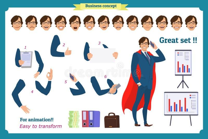 Set super biznesmena charakter pozuje, gesty, akcje, ciało elementy royalty ilustracja
