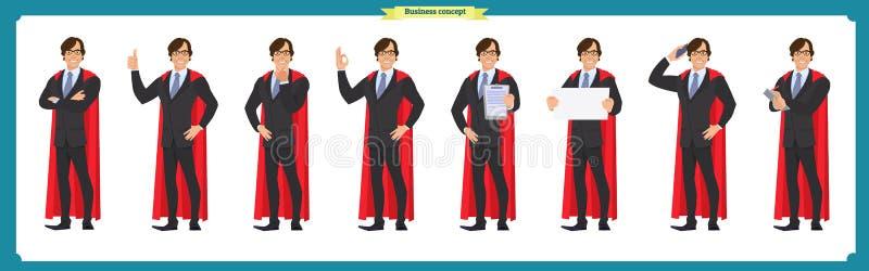 Set super biznesmena charakteru mężczyzna w kostiumu, stoi royalty ilustracja
