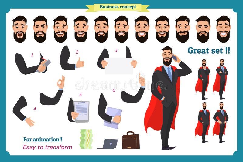 Set super biznesmena charakteru mężczyzna w kostiumu, stoi ilustracji