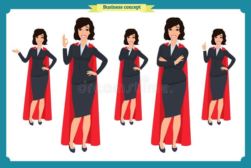 Set super bizneswomanu charakteru projekt z różnymi pozami Ilustracja odizolowywający wektor na bielu w płaskim kreskówka stylu ilustracja wektor