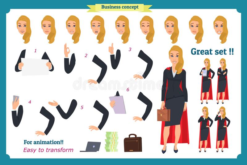 Set super bizneswomanu charakteru projekt z różnymi pozami Ilustracja odizolowywający wektor na bielu w płaskim kreskówka stylu royalty ilustracja