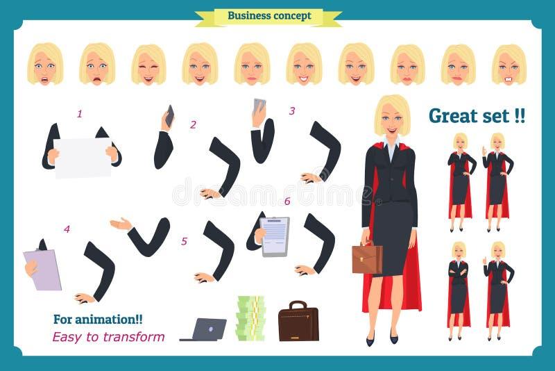 Set super bizneswomanu charakteru projekt z różnymi pozami Ilustracja odizolowywający wektor na bielu w płaskim kreskówka stylu ilustracji