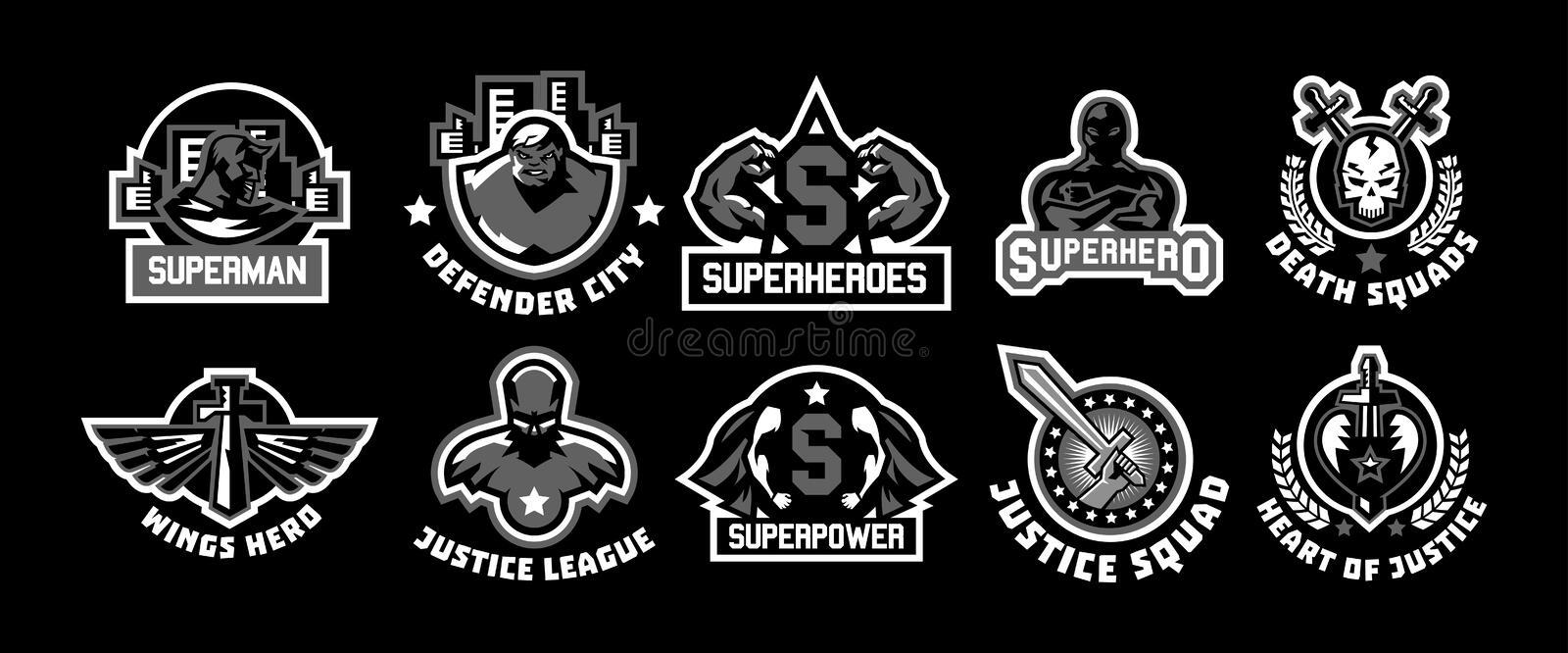 Set of superhero logos. A collection of images of superman. The suit, raincoat, silhouette, image, face, muscles, city vector illustration