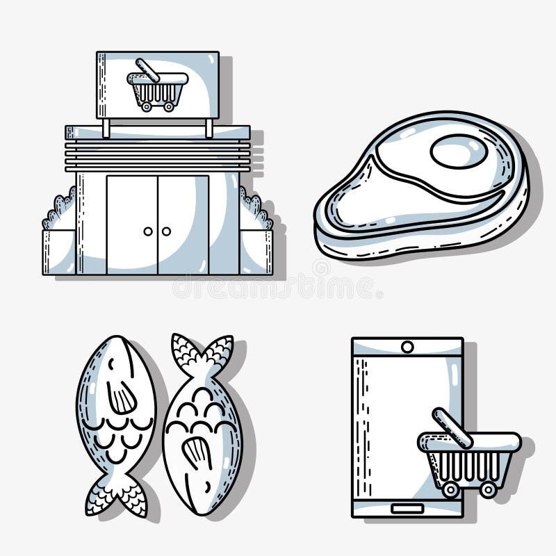 Set supermarket variety food nutrition to shopping vector illustration